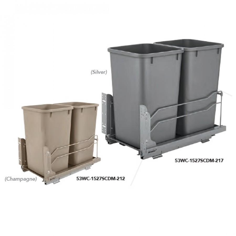 Double 27 qt. Waste Container (Silver)