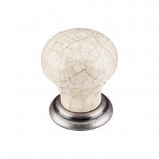 """Ceramic Knob Small 1 1/8"""" - Pewter Antique & Bone Crackle"""
