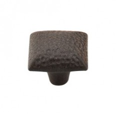 "Square Iron Knob Dimpled 1 3/8"" - Rust"