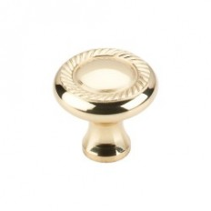 "Swirl Cut Knob 1 1/4"" - Polished Brass"