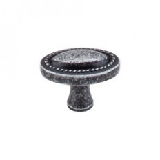 "Oval Rope Knob 1 1/4"" - Black Iron"