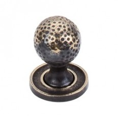 "Paris Knob Mottled 1 1/16"" w/Backplate - Dark Antique Brass"