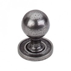 "Paris Knob Smooth 1 1/16"" w/ Backplate - Cast Iron"