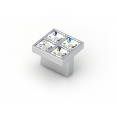SMALL RECTANGULAR KNOB SWAROVSKI CRYSTALS CHROME