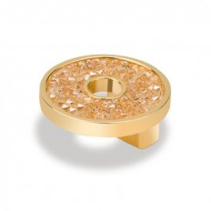 SMALL ROUND KNOB WITH HOLE SWAROVSKI GOLD