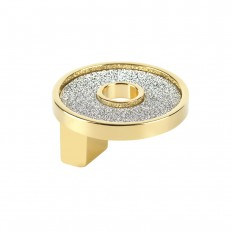 SMALL ROUND KNOB WITH HOLE SPARKLING SWAROVSKI GOLD