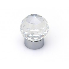 LARGE ROUND SWAROVSKI CRYSTAL KNOB CHROME
