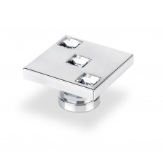 SQUARE KNOB WITH 3 SWAROVSKI CRYSTALS CHROME