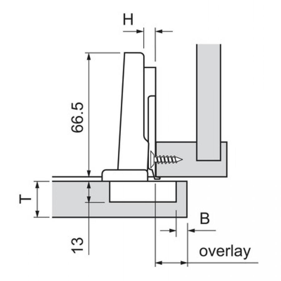 Blum 110°+ CLIP Top BLUMOTION Hinge, Straight-arm, Screw-on 70T3550 TL